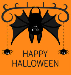 hanging bat two spider dash line web happy vector image