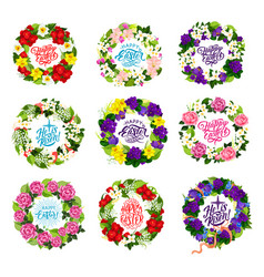 Happy easter holiday flower and cross icons vector