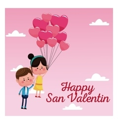 happy san valentine card couple branch balloons vector image