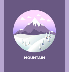 mountain landscape in round logo flat icon vector image