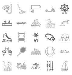 physical culture icons set outline style vector image vector image