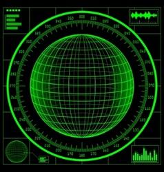 radar screen digital globe vector image