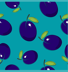 seamless pattern plum on azure background vector image