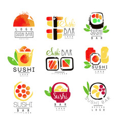 sushi bar logo template set colorful watercolor vector image