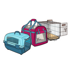 Three type of pet carrier transport bag plastic vector