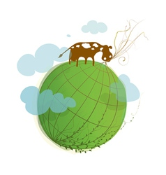 Cartoon Green Planet on White with a Cow vector image vector image