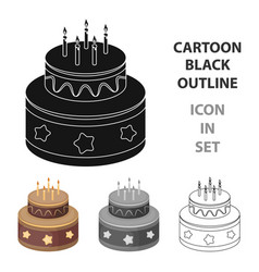 chocolate cake with stars icon in cartoon style vector image