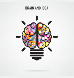 Creative brain Idea and light bulb concept vector image vector image