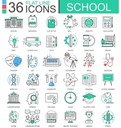 School color flat line outline icons for vector image