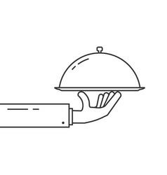 black thin line hand holding dish vector image
