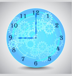 blue mechanical clock with gears on grey vector image vector image