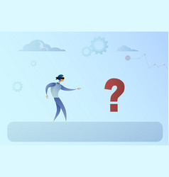 business man blind walking to question mark crisis vector image vector image