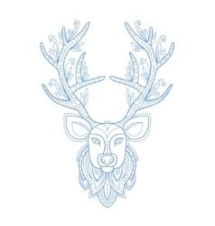 Deer head stylised doodle zen coloring book page vector