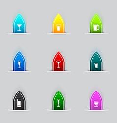 Glass icon set vector image