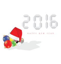 happy new year 2016 with christmas ball vector image