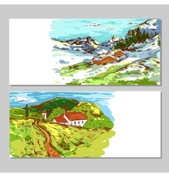 Sketch Colorful Countryside Landscapes vector image