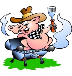 BBQ Pig sitting on a grill barrel vector image vector image