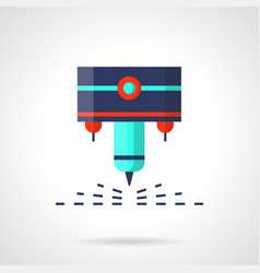 cnc laser machine flat color icon vector image vector image
