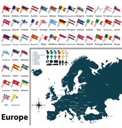 Europe political map with flags vector image