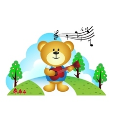 Little bear playing guitar in the park vector image vector image