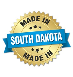 made in South Dakota gold badge with blue ribbon vector image