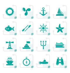 stylized marine and sea icons vector image vector image