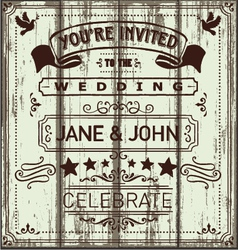 Vintage Wooden Wedding Invitation vector image