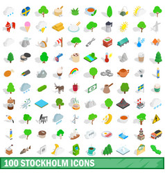 100 stockholm icons set isometric 3d style vector image