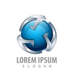 3d blue sphere logo concept design symbol graphic vector image