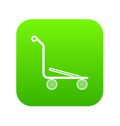 airport trolley icon green vector image