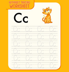 alphabet tracing worksheet with letter c and c vector image