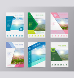 annual report brochure flyer design template set vector image