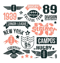Badges set of the college rugby team vector
