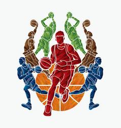 Basketball team player dunking dripping ball vector