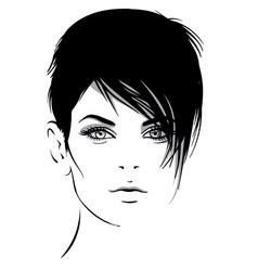 Beautiful girl portrait bob hairstyle vector