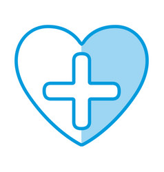 blue shading silhouette heart health with cross vector image