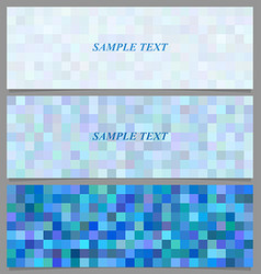 Blue square mosaic pattern banner background set vector