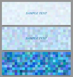 Blue square mosaic pattern banner background set vector image
