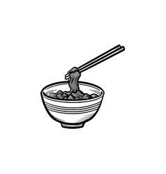 Bowl of noodles hand drawn sketch icon vector