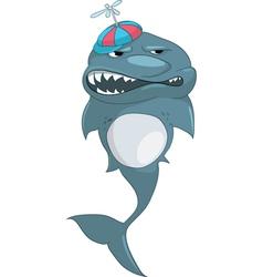 boy shark cartoon vector image vector image