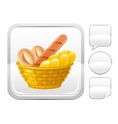 Bread basket icon on silver button vector