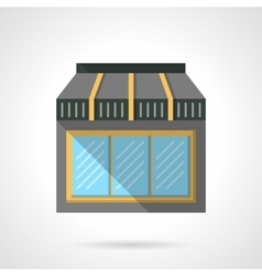 Cafe glass storefront flat design icon vector