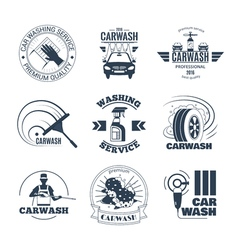 Car Wash Black Emblems Icons Set vector