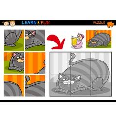 Cartoon cat puzzle game vector