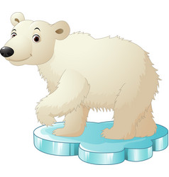 Cartoon polar bear sitting on floe vector