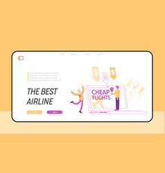 Cheap flight economy travel landing page template vector