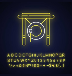 Chinese gong neon light icon vector