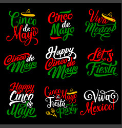 cinco de mayo holiday calligraphy lettering design vector image