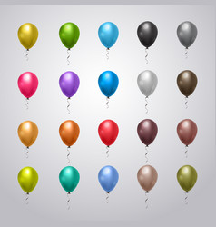 Collection helium balloons colorful vector