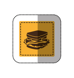 Color emblem sticker sandwich icon vector
